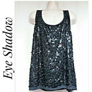 Sequin Covered Tank Top Charcoal Gray Size 3X